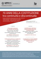 70 ANNI DELLA COSTITUZIONE tra continuità e discontinuità